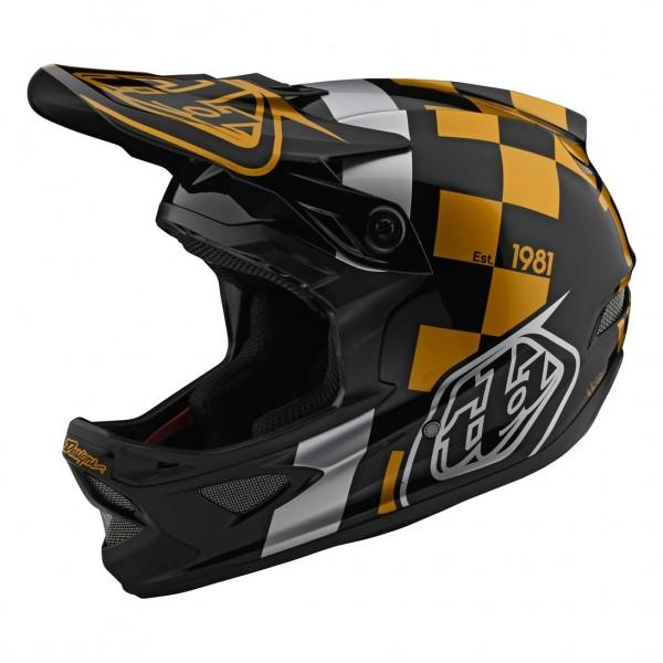 Troy Lee Designs D3 Fiberlite Full Face Helmet Race Shop Black / Gold