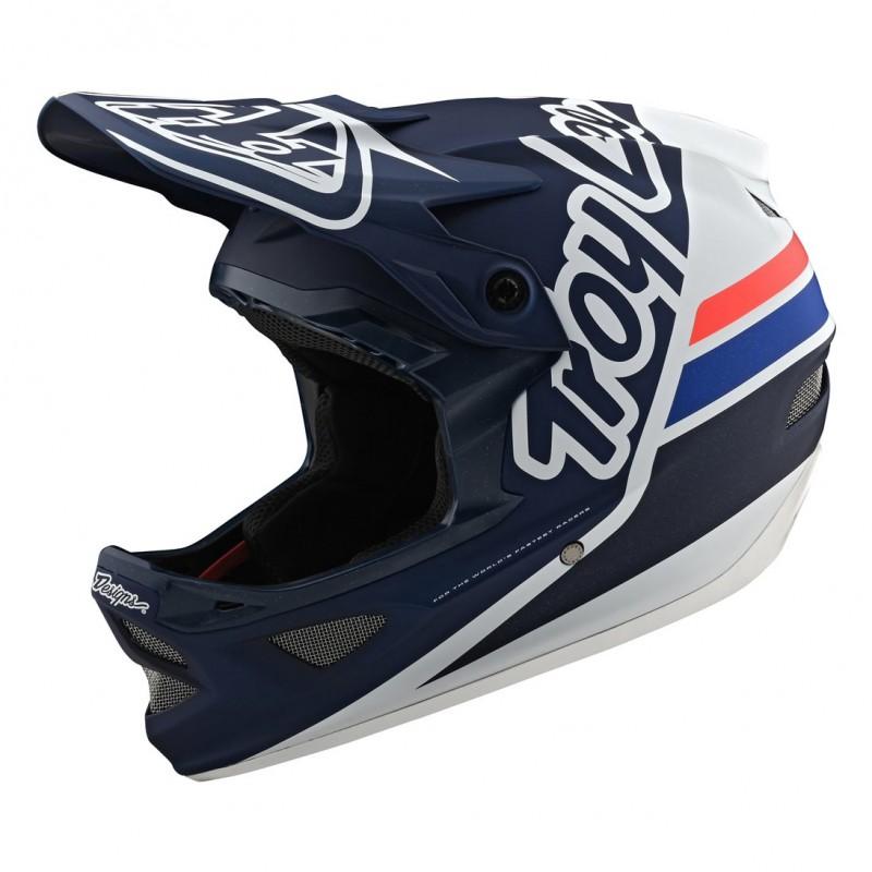 Troy Lee Designs D3 Fiberlite Full Face Helmet Silhouette Navy/White